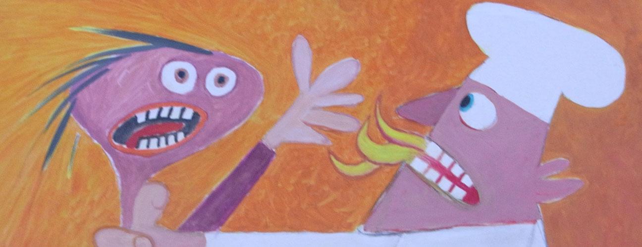 Tavla målad av Bertil Lindgren som hänger på Restaurang Anorak. Bilden företsäller den galne kocken