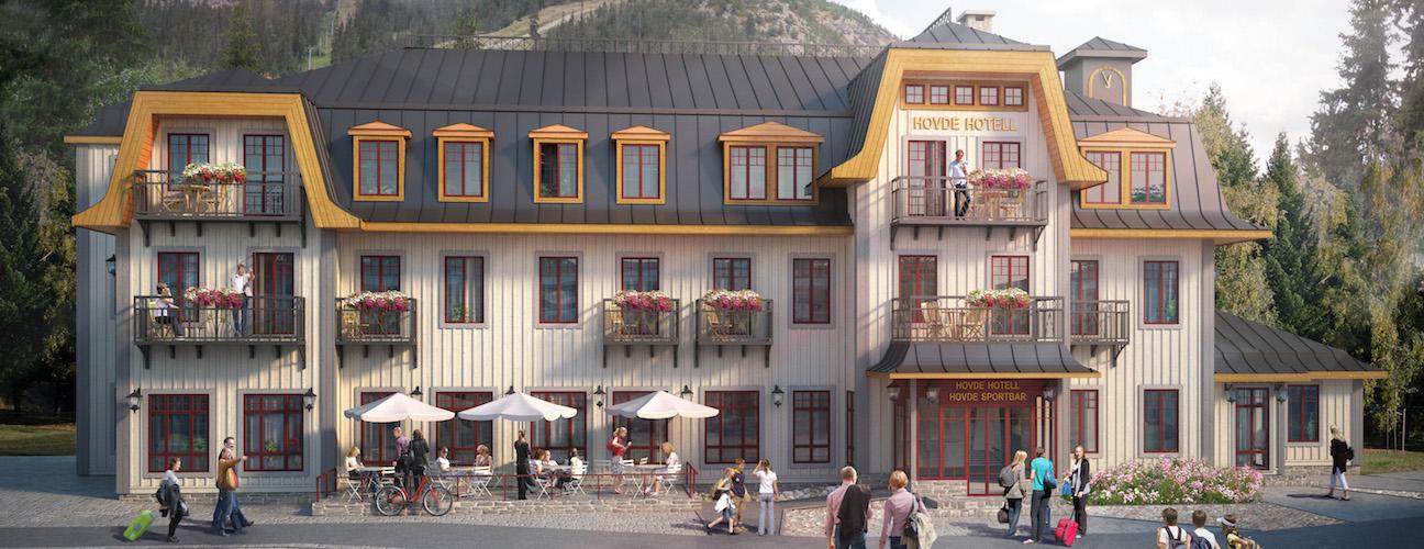 Vy över Hovde hotell från Skalets Torg.